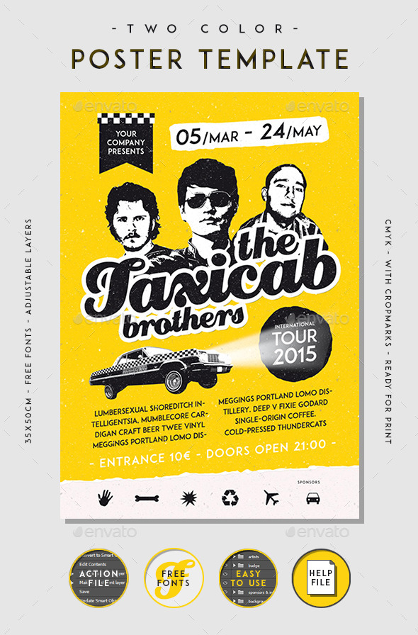 Two Color Poster Template - Clubs & Parties Events