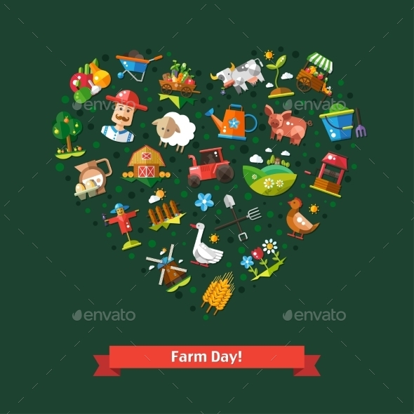 Heart Composition of Farm Icons - Miscellaneous Vectors