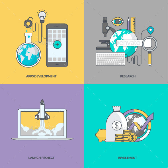 Set of Color Line Concept Icons
