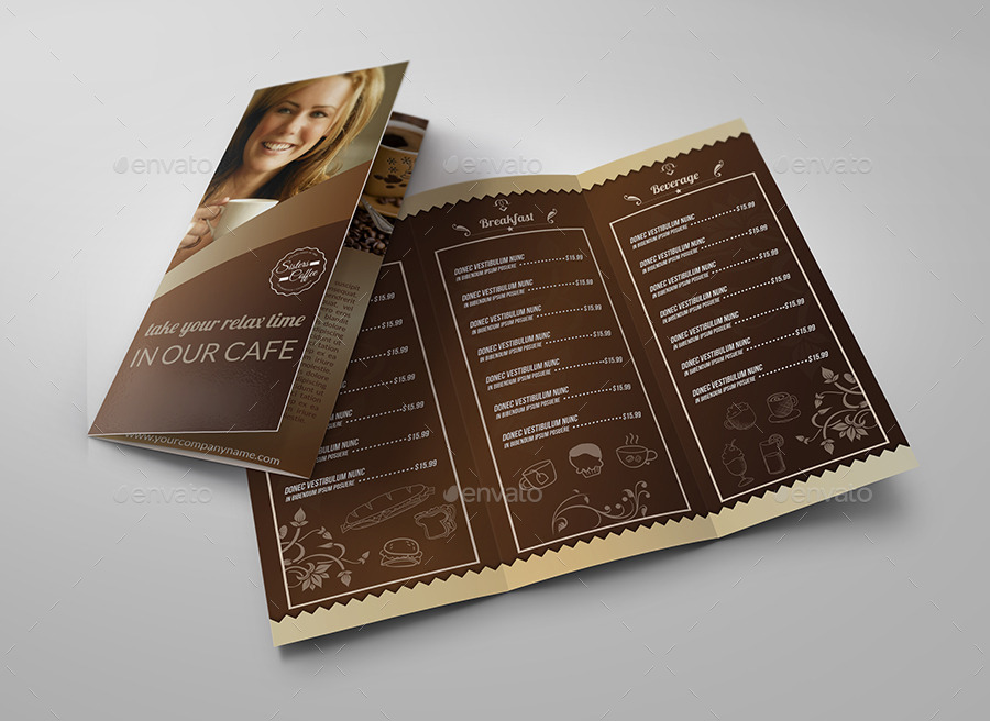 Cafe And Coffee Shop Menu TriFold Brochure By Owpictures