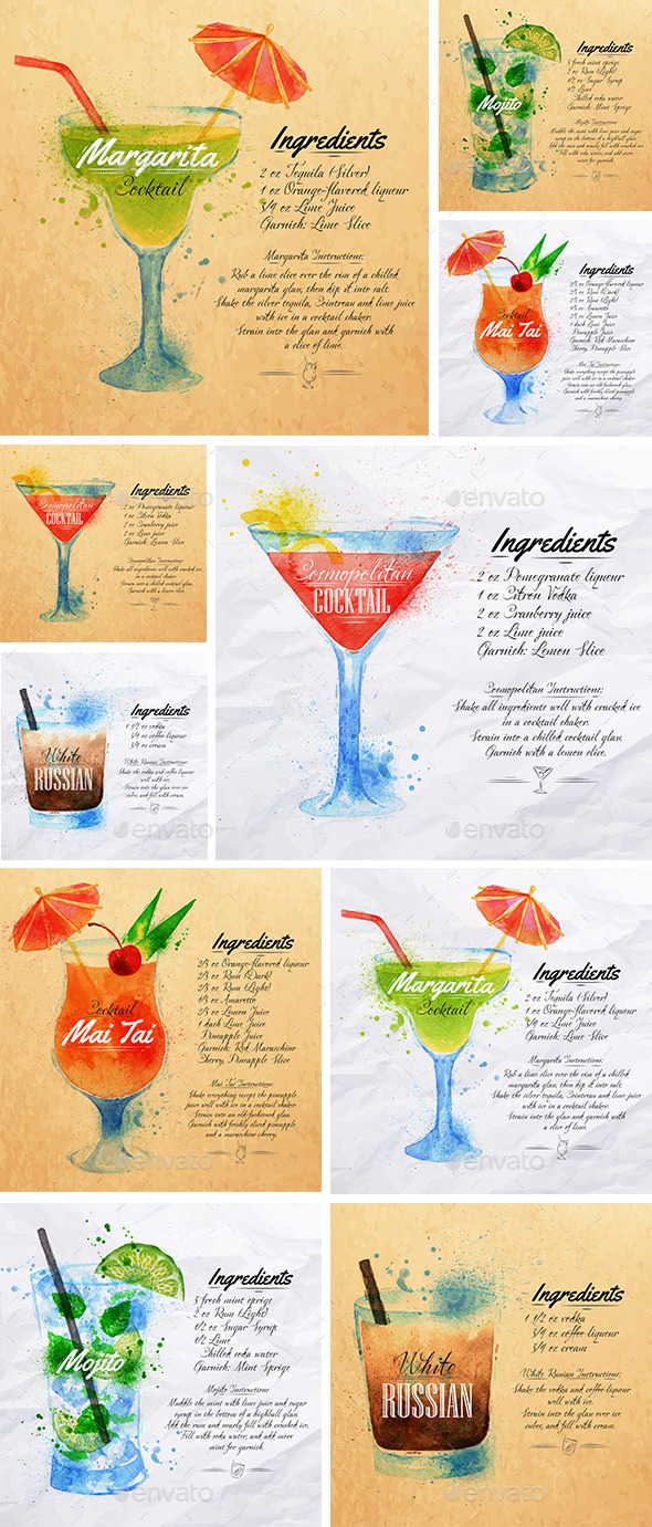 Cocktails Watercolor - Food Objects