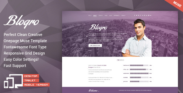 Blogro – One Page Personal Muse Templates