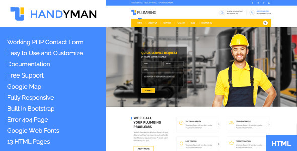 Handyman: Construction, Building &a Plumbing HTML Template - Business Corporate
