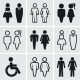 Restroom Silhouettes Icon Set.    - GraphicRiver Item for Sale