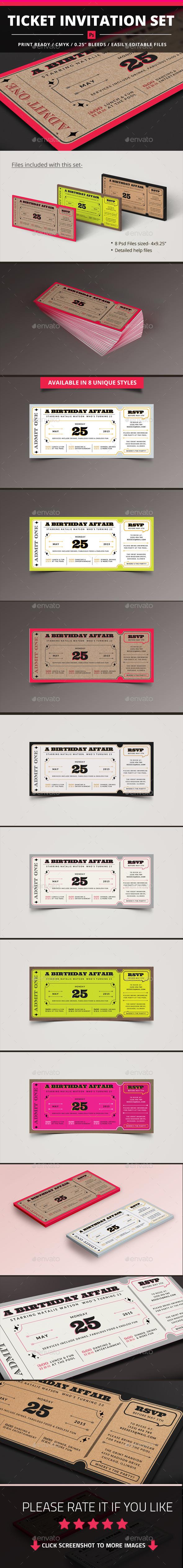 Ticket Invitation Set - Invitations Cards & Invites