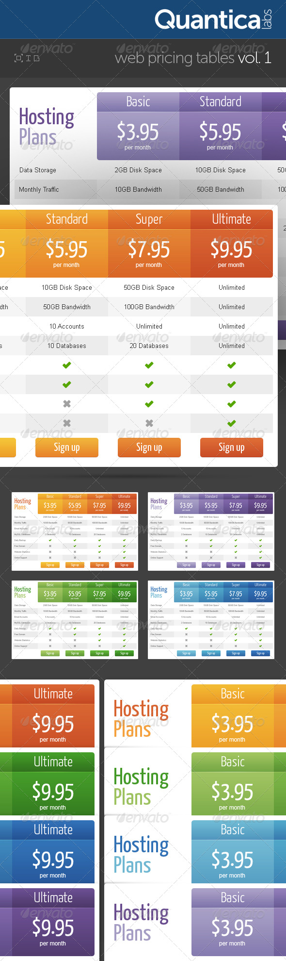 Web Pricing Tables (Grids) - Tables Web Elements