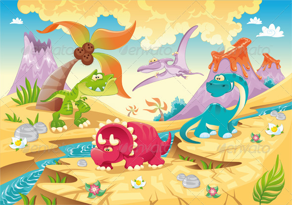 Dinosaurs Family with background. - Animals Characters