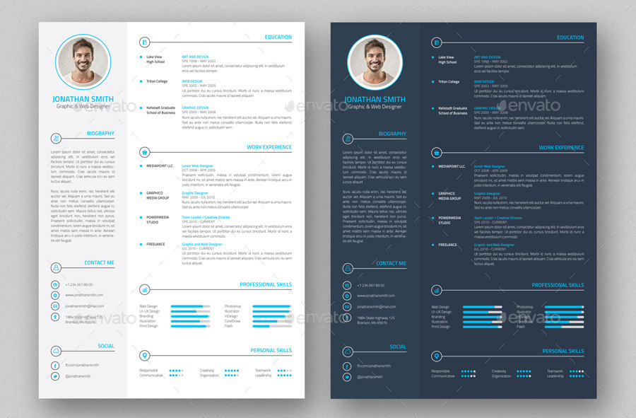 Professional Resume  Cv   Pieces By Nazdrag  Graphicriver