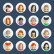 Collection of 16 Colorful Flat User Female Icons - GraphicRiver Item for Sale