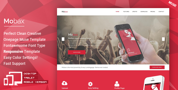 Mobax – App Landing Page Muse Templates