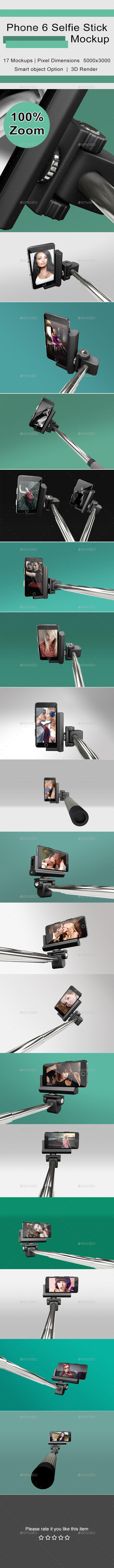 Phone 6 Selfie Stick Mockup - Mobile Displays