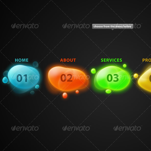 Colorful Menu - Buttons Web Elements