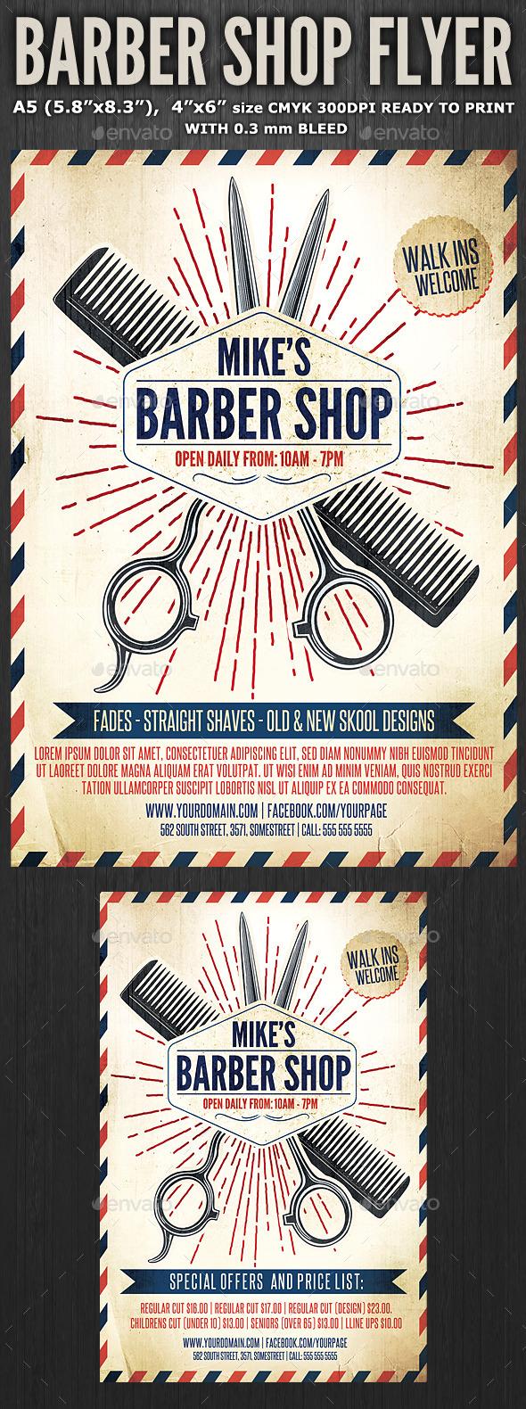 Barber Shop Flyer Graphics Designs Templates Page 2