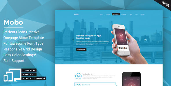 Mobo - One Page Parallax Muse Theme - Landing Muse Templates