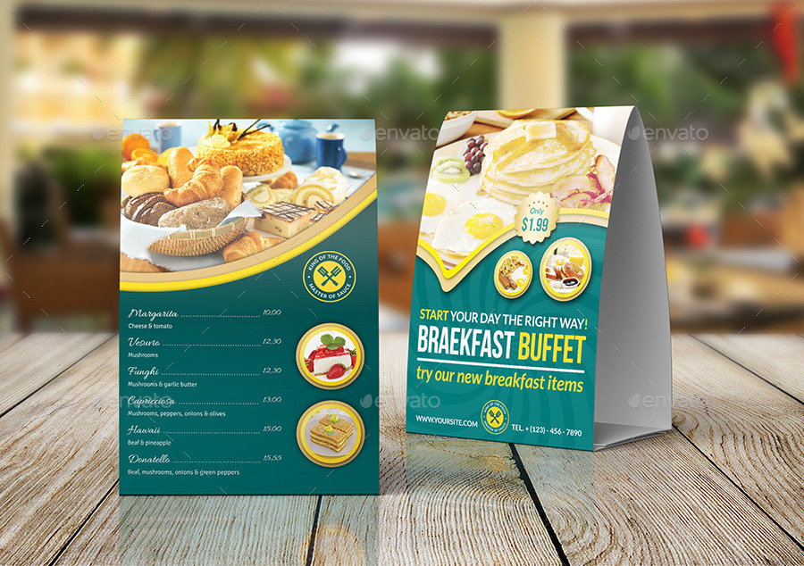 Cafe And Restaurant Table Tent Template Vol.5 By Owpictures