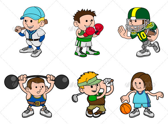 Cartoon Sports Characters - Characters Vectors