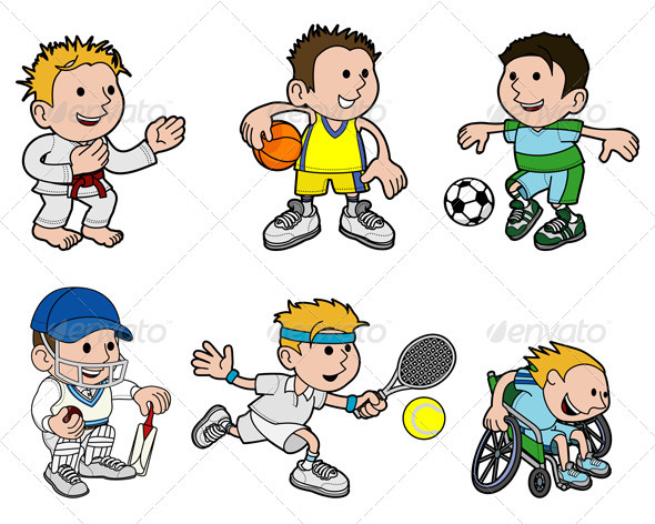 A Set of Sports Cartoon Characters - Characters Vectors