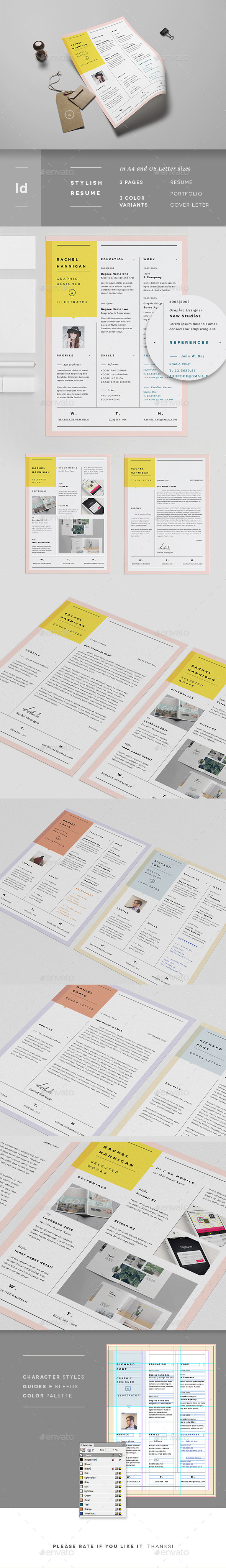 3 Pages Minimal Resume Portfolio & Letter