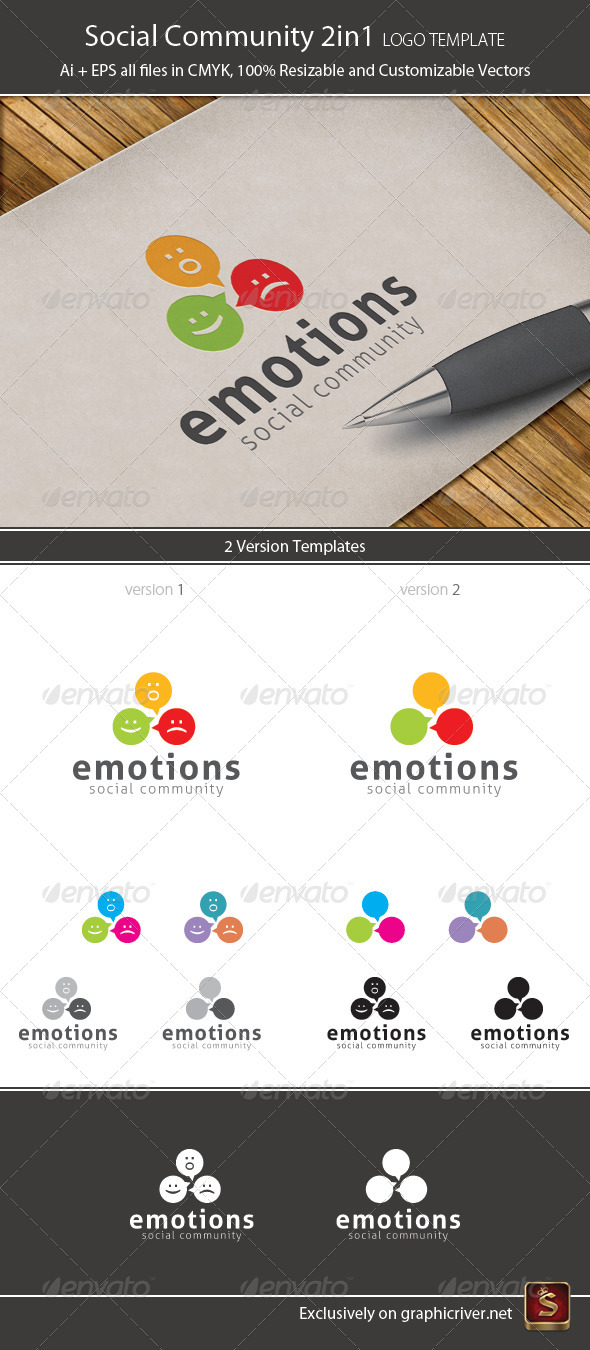 Social Community Logo Template 2in1 - Vector Abstract