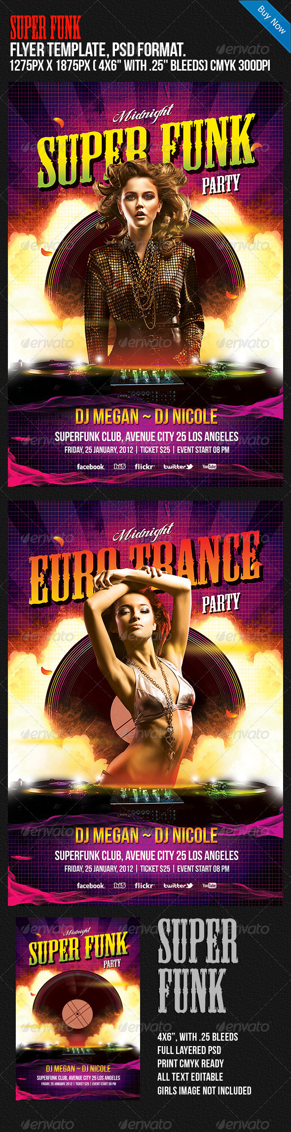 Super Funk Night Club Disco Party Flyer - Clubs & Parties Events