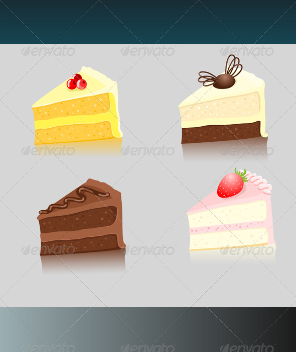 Four Slices of Cake - Food Objects