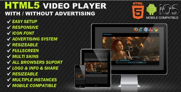Html5 responsive video player advertising by for Html5 video player template