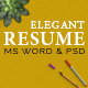 Elegant Resume/CV Set with PSD & MS Word File - GraphicRiver Item for Sale