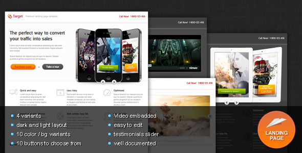 Free Download Target - Premium Landing page template Nulled Latest Version