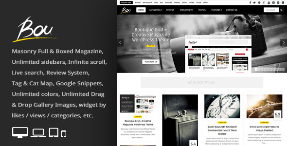 Bou = Masonry Review Magazine Blog WordPress Theme