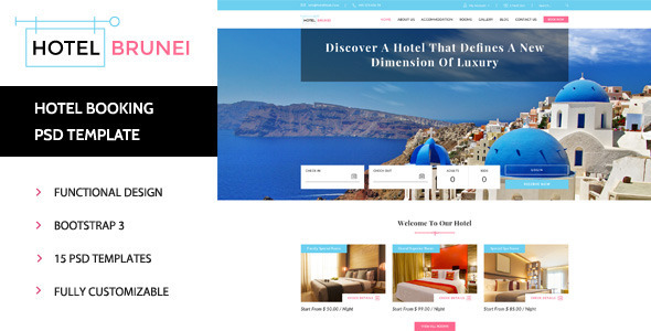 Hotel Brunei - Hotel Booking PSD Template - Travel Retail