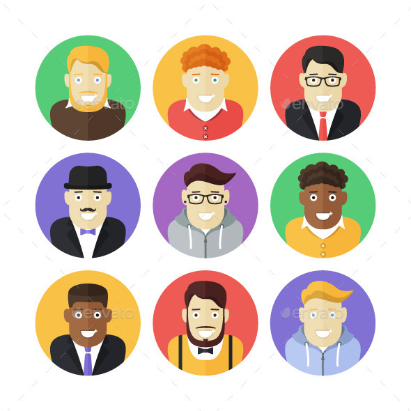 Flat Icons Set Of Smiling Male Persons By Filborg