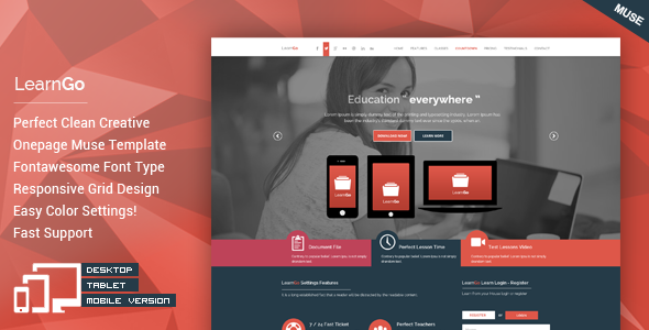LearnGo – OnePage Education Muse Template