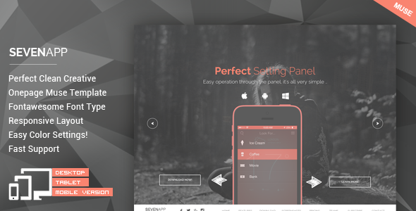 SevenApp - App Landing Page Muse Templates - Landing Muse Templates