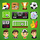 Vector Icons Set on the Theme of Soccer - GraphicRiver Item for Sale
