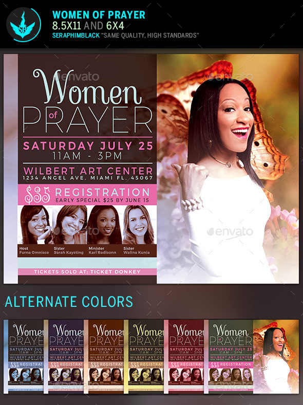 Women Of Prayer Church Flyer Template By Seraphimblack | Graphicriver