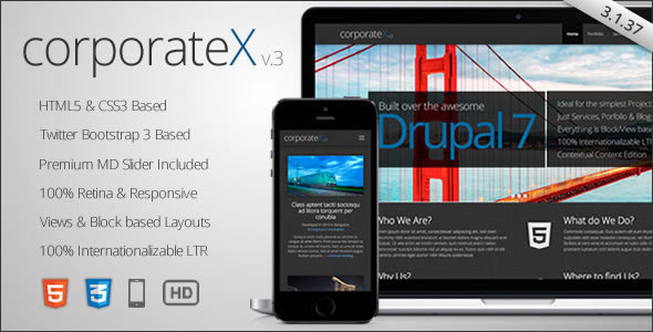 Corporate X – Bootstrap 3 Business Drupal Theme