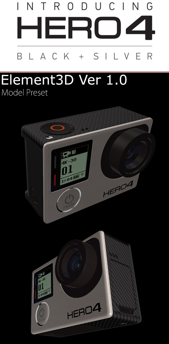 GoPro Hero4 Element3D - 3DOcean Item for Sale