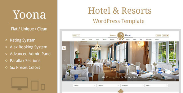 Yoona – Hotel & Resort WordPress Template