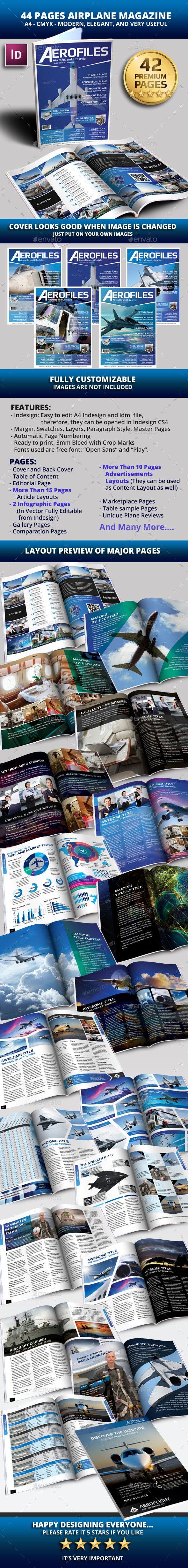 44 Pages Airplane Magazine Modern Template - Magazines Print Templates