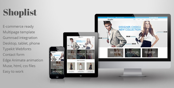 Shoplist – eCommerce Muse Template