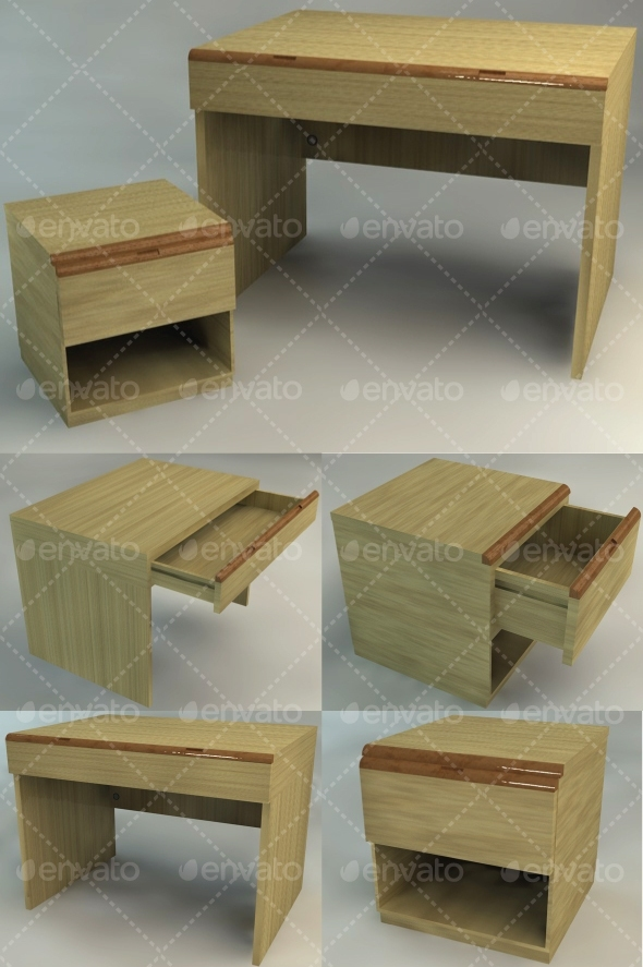 Bedside Table and Desk - Set - 3DOcean Item for Sale