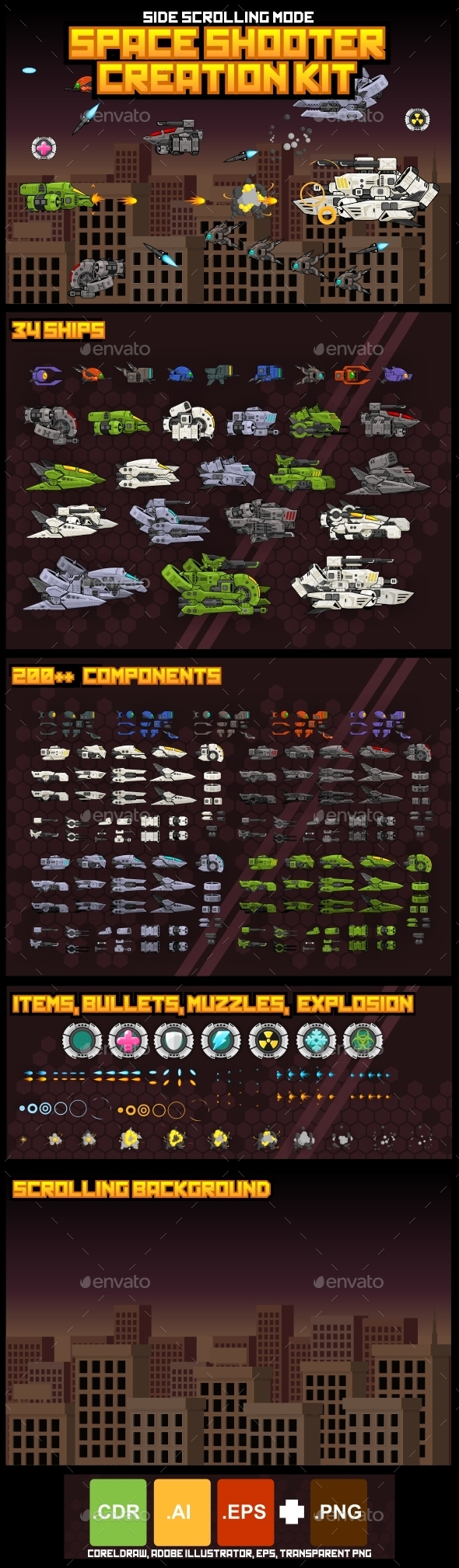 Space Shooter Kit: Side Scrolling - Sprites Game Assets
