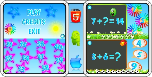 Math Game for Kids - HTML5 Mobile Game (CAPX) - CodeCanyon Item for Sale