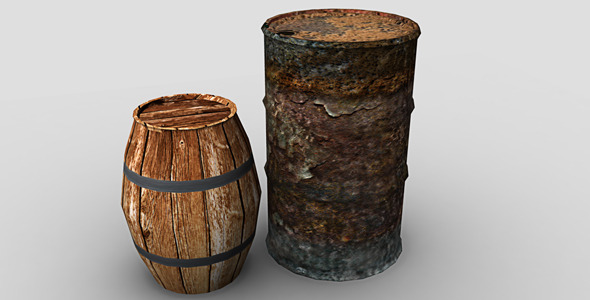 Barrel and Oil Drum - 3DOcean Item for Sale