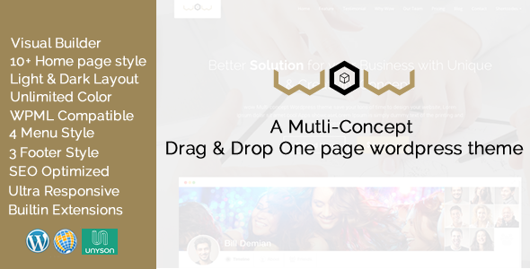Wow Multi Concept One Page WordPress Theme