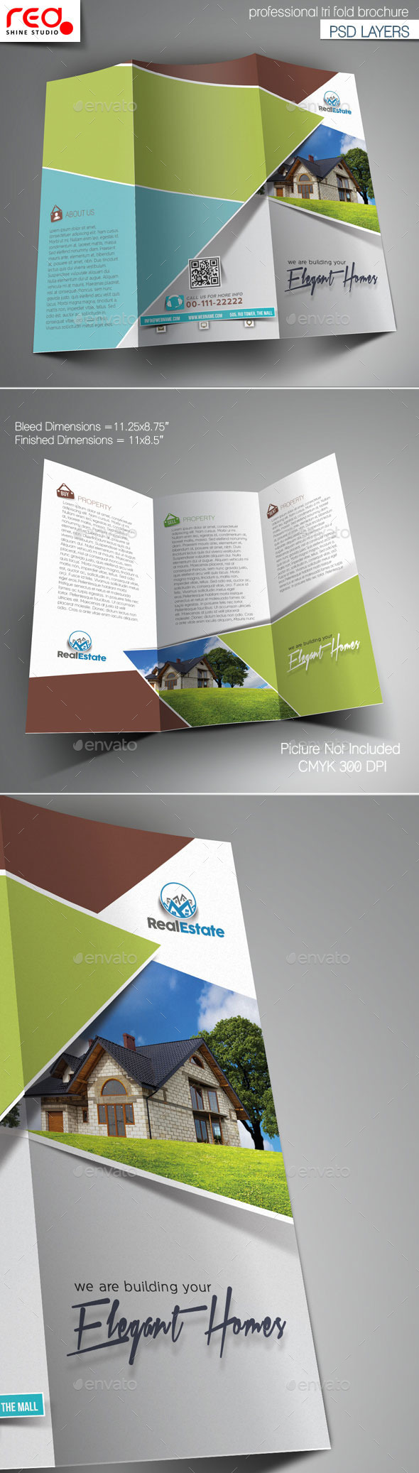 Real Estate Multipurpose Trifold Brochure Template By Redshinestudio - Real estate tri fold brochure template