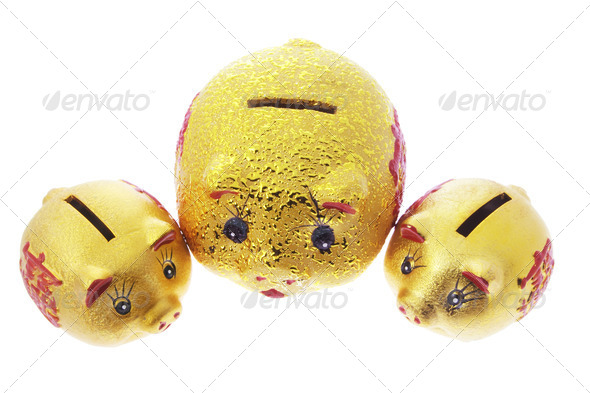Chinese Golden Piggy Banks - Stock Photo - Images