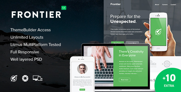 Frontier + 10 Notify Templates & Themebuilder - Newsletters Email Templates