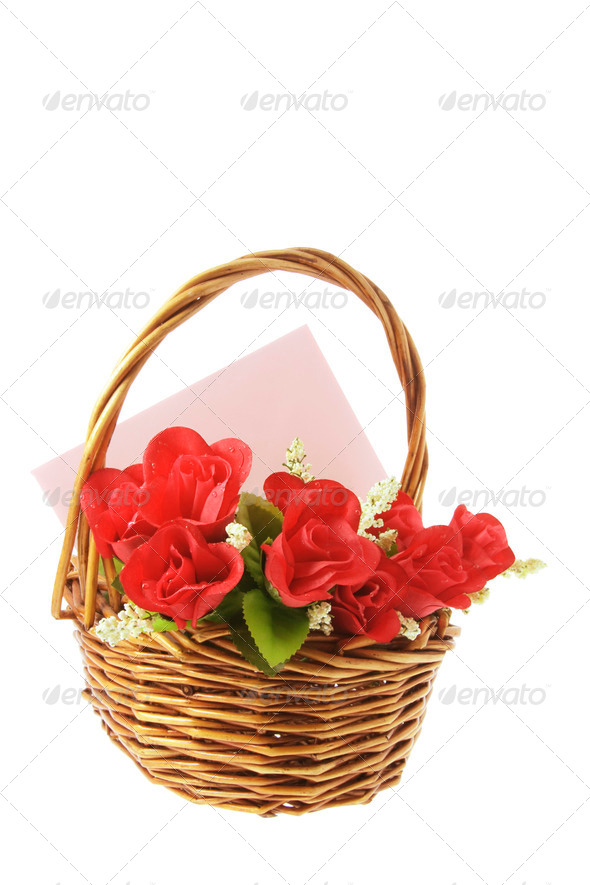 Red Roses and Greetings Card in Basket - Stock Photo - Images