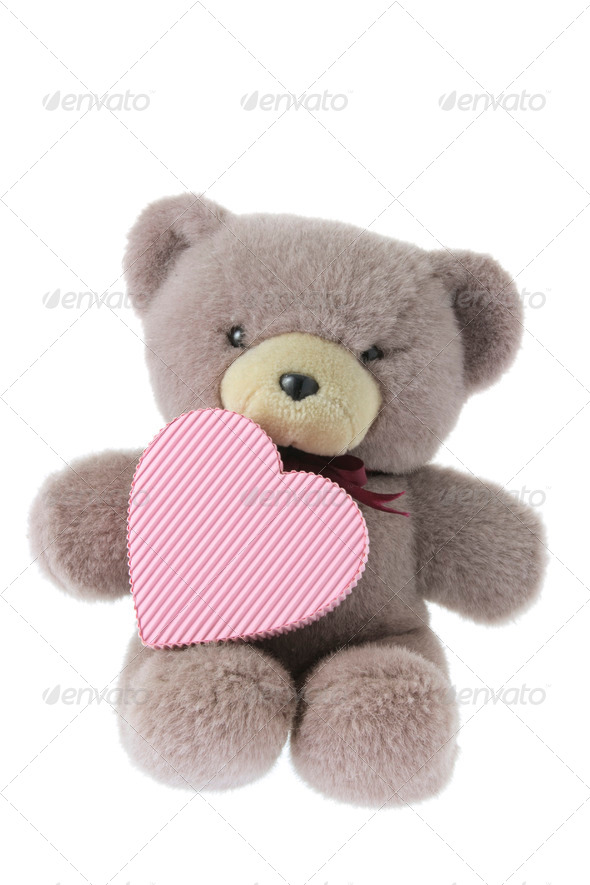 Teddy Bear with Gift Box - Stock Photo - Images